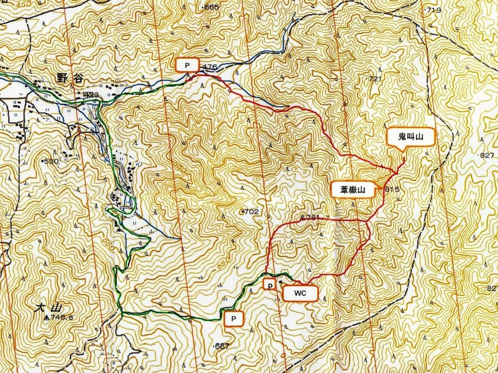 葦嶽山登山地図